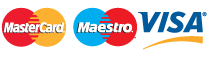 We Accept : Mastercard, Maestro and Visa
